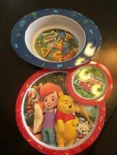 2 Lot Disney Tigger & Pooh Infant / Toddler Melamine Bowl & Plate