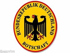 """GERMAN GERMANY BOTSCHAFT FOREIGN MISSIONS 5"""" BUMPER STICKER DECAL MADE IN USA"""
