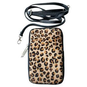 Ladies Real Fur Leather Mobile Phone Pouch Bag Women Girls Small Pouch Cover