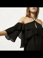 River Island Black Cold Shoulder Ruffle Frill Layered Blouse Uk 12 Brand New