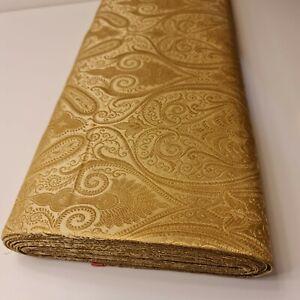"""Indian Faux Silk Brocade Paisley Banarasi Fabric Gold Floral Jacquard Print 44"""""""