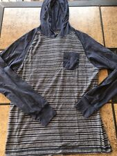 Men's Distortion Blue and White Striped Hooded Long Sleeve Shirt- Size M- Used