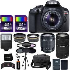Canon EOS Rebel T6 DSLR Camera w/ 18-55mm & 75-300mm Zoom Lenses + 22pc 48GB Kit