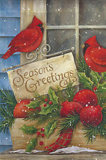 "Season's Greetings Winter House Flag Cardinals Birds Holiday Seasonal 29"" x 43"""