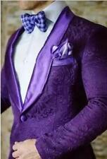 Men's Purple Jacket Jacquard Paisley Tuxedos Groom Wedding Suit British Style