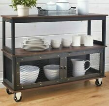 Sideboard Buffet with Wheels - Vintage Style Kitchen Cabinet Furniture