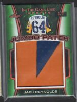 2018 LEAF IN THE GAME USED JACK REYNOLDS JUMBO PATCH # 3/7