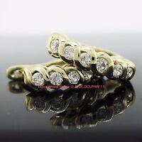 Genuine Real Solid 9k Yellow Gold Twist Hoop Huggies Earrings Simulated Diamonds