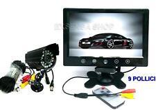 "KIT VIDEOSORVEGLIANZA MONITOR LCD 9"" + TELECAMERA 24 LED INFRAROSSI + CAVO 20mt"