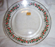 "Arcoroc Libbey Holly Berry & Ribbons Luncheon / Salad Plate 8"" Arby's MINT"