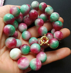 """Red Green Jade necklace bracelet,Round 12mm gemstone Beads Knotted 16""""18""""24"""" 32"""""""