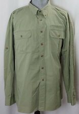 CABELA'S Mens Olive Vented Long Sleeve Button Down Shirt 3XLT
