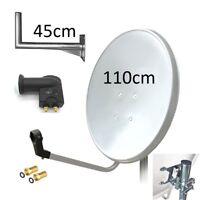 Satellite Dish Kit 110cm White Galvanized Antenna + LNB Twin + Wall Bracket