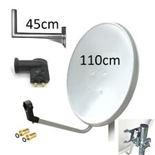 Satellite Dish Kit 110cm White Galvanized Antenna + LNB Twin + Wall Bracket