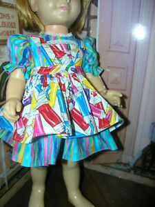 "3 Pc Set Striped Dress Print Apron 19-20"" Doll clothes fits Mattel Chatty Cathy"