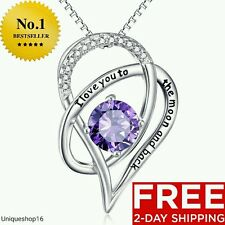 NEW STERLING SILVER NECKLACE MOTHERS DAY GIFT PRESENT MOM I LOVE YOU PURPLE WIFE