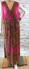 Catherines Maxi Dress Plus 2X Pink Paisley V-neck Surplice Empire Sleeveless NWT