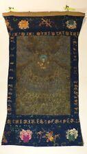Antique c. 19th century Tibetan Thangka Painting - Gold on Black Seated Pandita