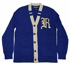 Polo Ralph Lauren Rugby Mens Varsity Letterman Cardigan Sweater Blue Cream Small