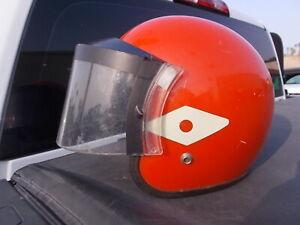 Vintage Orange RACING STRIPE MOTORCYCLE HELMET Face Shield