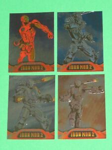 2010 IRON MAN MOVIE 2 UPPER DECK ARMORED EMBOSSED INSERT FOIL 4 CARD LOT!
