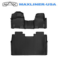 Maxfloormat 2015-18 F150 Crew Cab Bench Seats Custom Floor Mats Liner Set Black