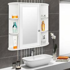 3-Tiers Wooden Wall Medicine Cabinet Adjustable Shelves Organizer w/ Mirror Door
