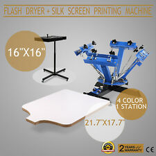4 Color Screen Printing 1 Station Kit 16x16 Flash Dryer Wheels Wood Heavy Duty