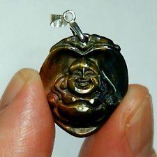 Pendentif oeil de tigre 24x21mm bouddha coeur buddha tiger eye pendant