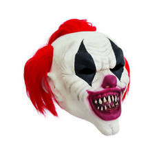 Killer Clown Mask Red Hair Halloween Horror Circus Fancy Dress Costume Prop