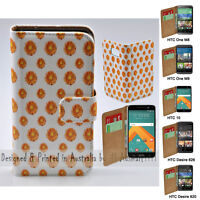 For HTC Series Mobile Phone - Yellow Flower Theme Print Wallet Phone Case Cover