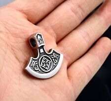 Edelstahl Anhänger Slawische Axt Kolovrat Odin Thor Wikinger Nordic  incl. Kette