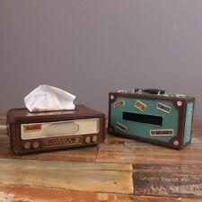 Retro Vintage Radio Tissue Box Cover Metal Antique Tissue Paper Sheets Brown Bra
