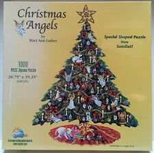 1000 Piece Shaped Jigsaw Puzzle Christmas Angels Tree Mary Ann Lasher Sunsout