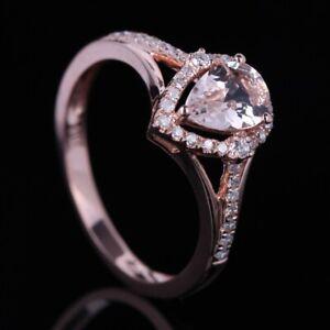 7x5mm Pear Morganite Natural Diamonds Split Shank 14K Rose Gold Engagement Ring