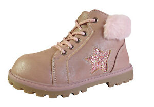Girls Kids Child pink ankle boots fur collar zip glitter star comfort winter new