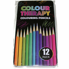 TIN OF 12 COLOUR COLOURING PENCILS ART DRAWING SET - NEW