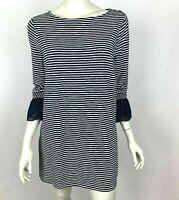 J Jill Lace Sleeve Striped Tunic Top Blue Scoop neck Cotton Blend Women M NWT
