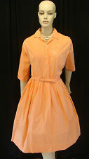 50s VINTAGE TANGERINE SHIRTWAIST DRESS WITH TONE-ON-TONE EMBROIDERY & PLEATS M-L
