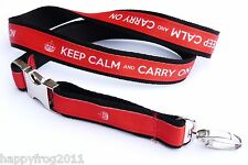 KEEP CALM AND CARRY ON EXCLUSIVE Neck Strap Satin Lanyard for mobile Id Mp3 Keys