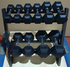 Dumbbell Hex Weights & Storage Rack Dumbbells Home Gym Rubber Set KG