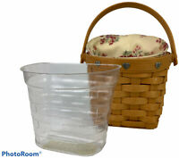 Longaberger Wall Pocket Basket 2001 Pewter Hearts with Fabric and Plastic Liner