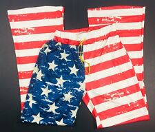 American Flag XL Low Rise Flare Stretch Pants Elastic Drawstring Stars Stripes