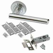 4 sets of T Bar Internal Door Handle Set Polished Chrome with Latch and Hinges