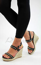 New Womens High Wedge Heel Platform Sandals Ankle Strap Studded Peep Toe Shoes