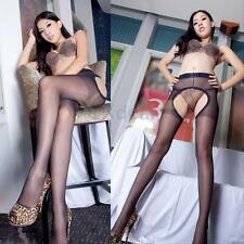 Sexy Women Lady Open Crotch Stockings Black Lace High Tights Elastic Pantyhose