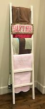 Rustic Handmade White Washed 7 Foot Wood Blanket/Quilt Ladder FREE US SHIPPING!!