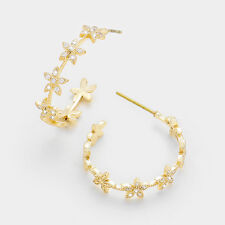 Gold Floral Cubic Zirconia Crystal Hoop FASHION Earrings