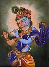 Krishna Radha Indian Handmade Painting Hindu Oil Canvas Decor Portrait Art