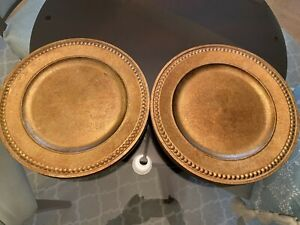 "12 Palate & Plate Beaded Chargers Antique Gold 14"" NEW"